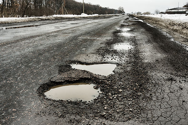 Road with potholes