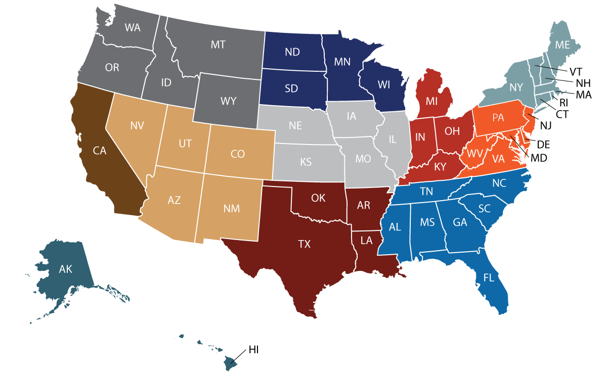 Sales map with states